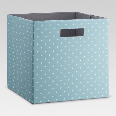13  Fabric Cube Storage Bin Ancient Aqua Polka Dot - Threshold™