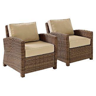 Crosley Bradenton 2 Piece Outdoor Wicker Seating Set with Sand Cushions