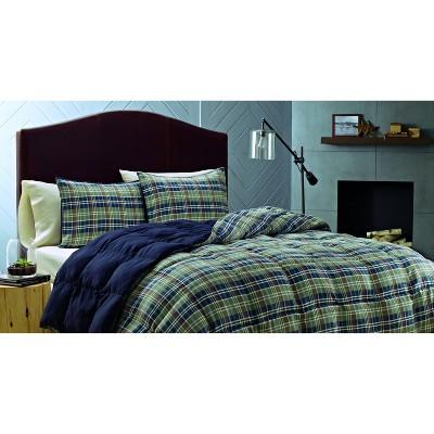 Navy Rugged Plaid Comforter Set (Full/Queen) - Eddie Bauer