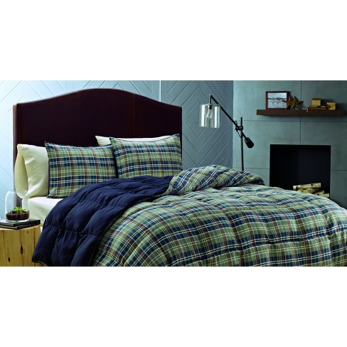 Navy Rugged Plaid Comforter Set Full Queen Ed Bauer