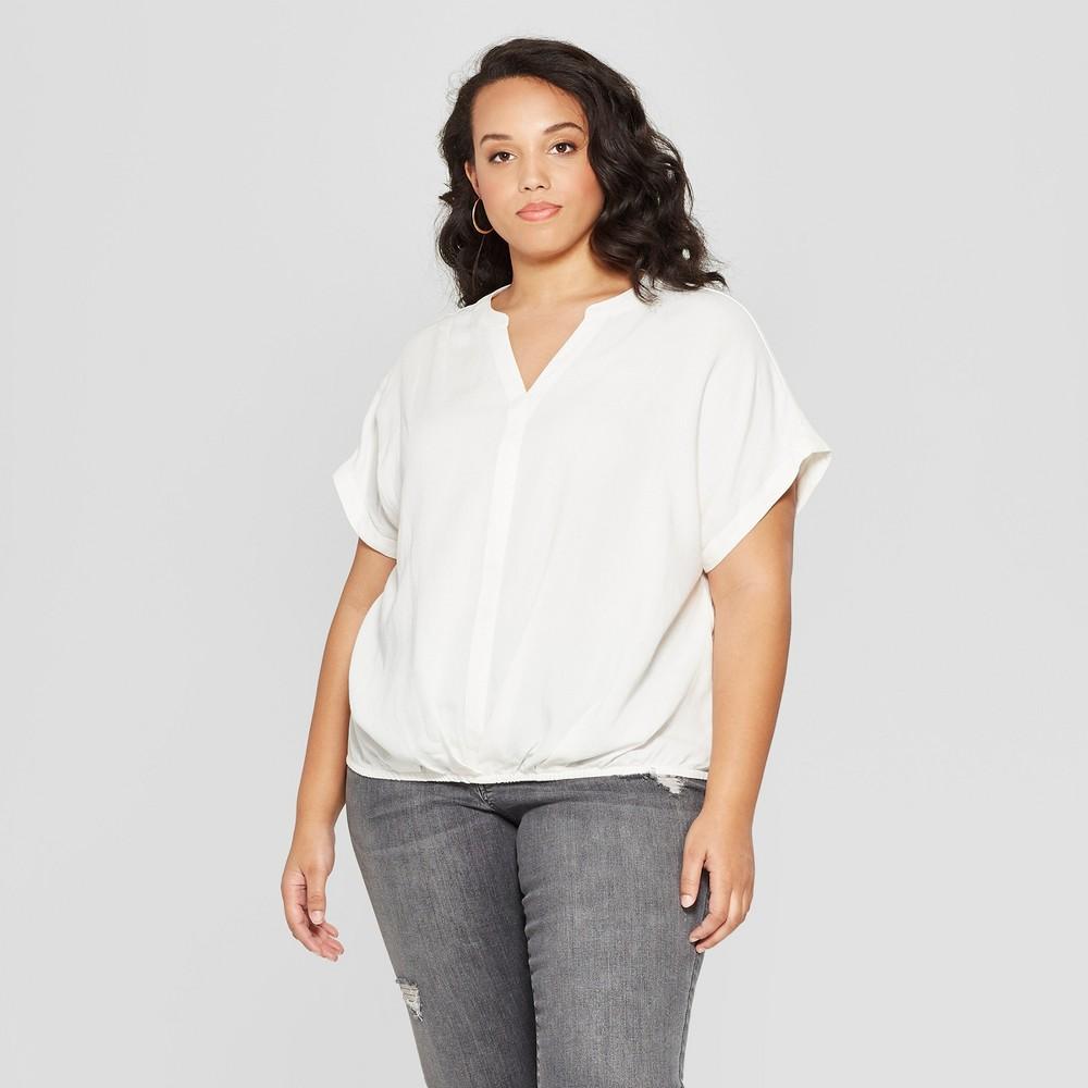 Women's Plus Size Short Sleeve Twist Front Top - Universal Thread White 1X