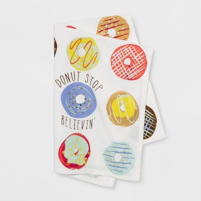 28 x18  Donut Stop Believing Flat Weave Kitchen Towel - Opalhouse™