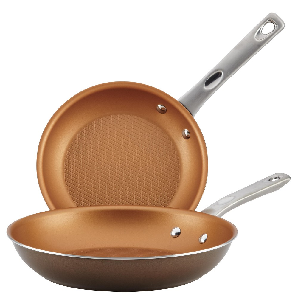 Image of Ayesha Curry Home Collection Porcelain Enamel Nonstick Skillets Twin Pack, Brown Sugar