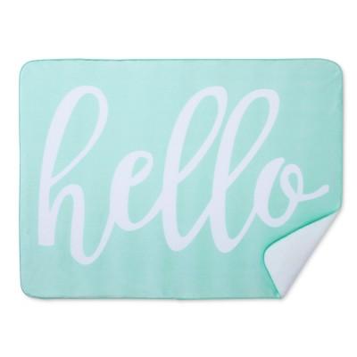 Plush Velboa Baby Blanket Hello - Cloud Island™ - Mint
