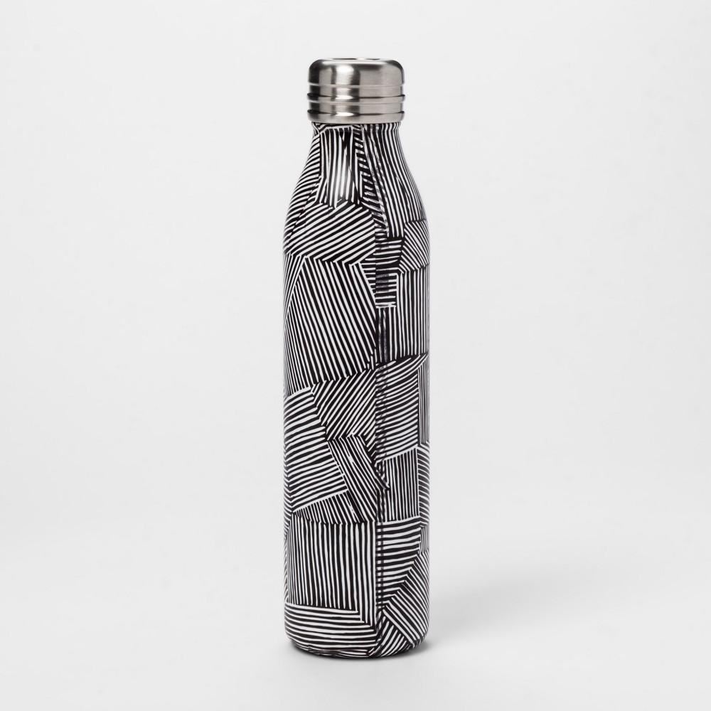 20oz Venti Air Transfer Stainless Steel Portable Water Bottle Black/White Stripe - Room Essentials