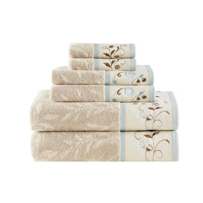 6pc Monroe Jacquard Cotton Bath Towel Set Beige