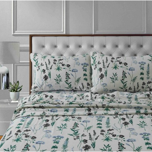 Twin Printed Pattern Extra Deep Pocket Cotton Flannel Sheet Set