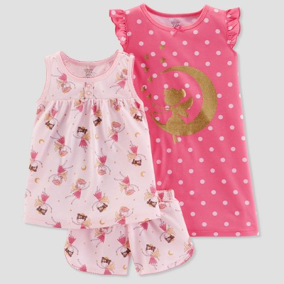 Baby Girls' 3pc Faries Pajama Set - Just One You® made by carter's Pink 12M