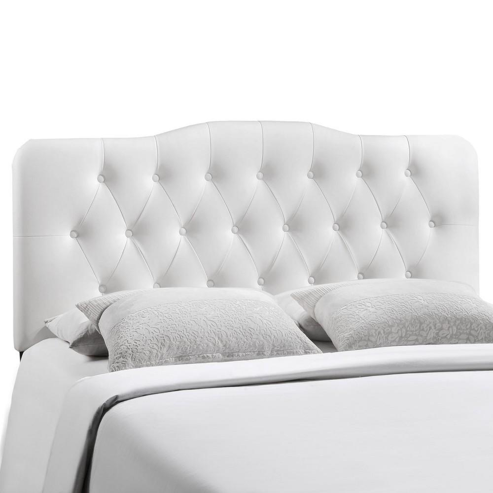 Annabel King Upholstered Vinyl Headboard White - Modway