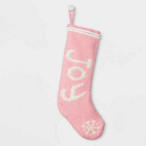 Pink Christmas Stocking.Joy Christmas Stocking Pink Wondershop