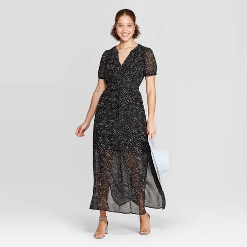 0c02e8b90e1 Women's Floral Print Casual Fit Short Sleeve Deep V-Neck Chiffon Maxi Dress  - A New Day™ Black/White