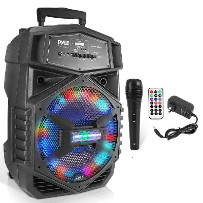 Pyle PPHP1264A 1000W Portable Outdoor Bluetooth PA Speaker System with Wired Microphone, Handle, Wheels, and Multicolored LED Party Light System