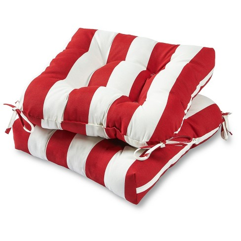 Set of 2 Outdoor Chair Cushions - Cabana Stripe Red - Greendale Home Fashions - image 1 of 2