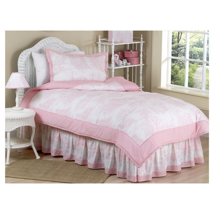 Pink & White French Toile Comforter Set (Full/Queen) - Sweet Jojo Designs® - image 1 of 3