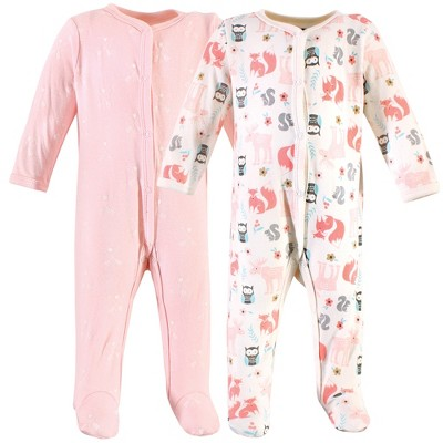 Hudson Baby Infant Girl Cotton Snap Sleep and Play 2pk, Girl Forest