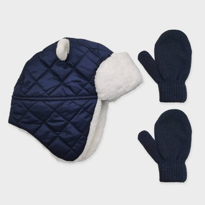 Toddler Boys' Quilted Trapper and Basic Magic Mittens Set - Cat & Jack™ Navy 12-24M