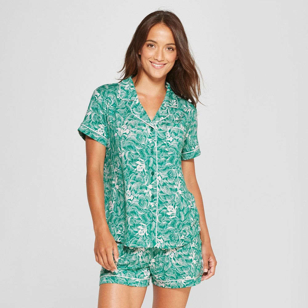 Women's Floral Print Total Comfort Notch Collar Pajama Set Green XL