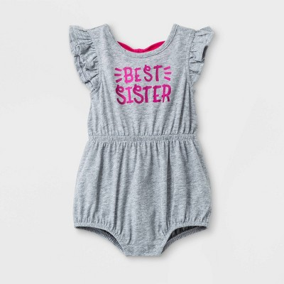 Baby Girls'  Best Sister  Flutter Sleeve Double Bow Back Jersey Romper - Cat & Jack™ Gray Newborn
