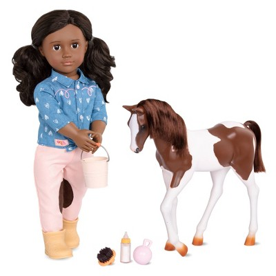 """Our Generation 18"""" Equestrian Doll & Horse Set - Daveen with Foal"""