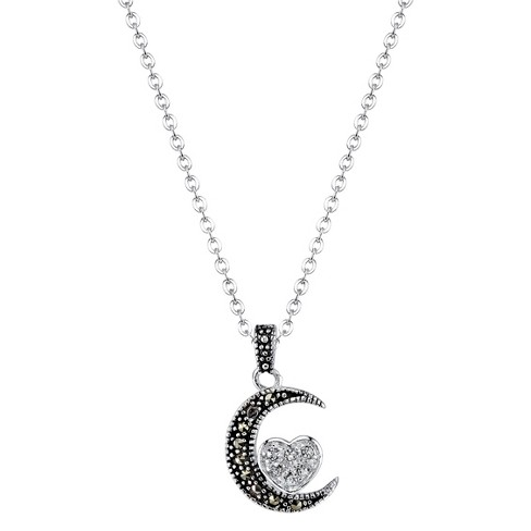 "Silver Plated Marcasite and Crystal Half Moon Pendant - 18.8"" - image 1 of 1"