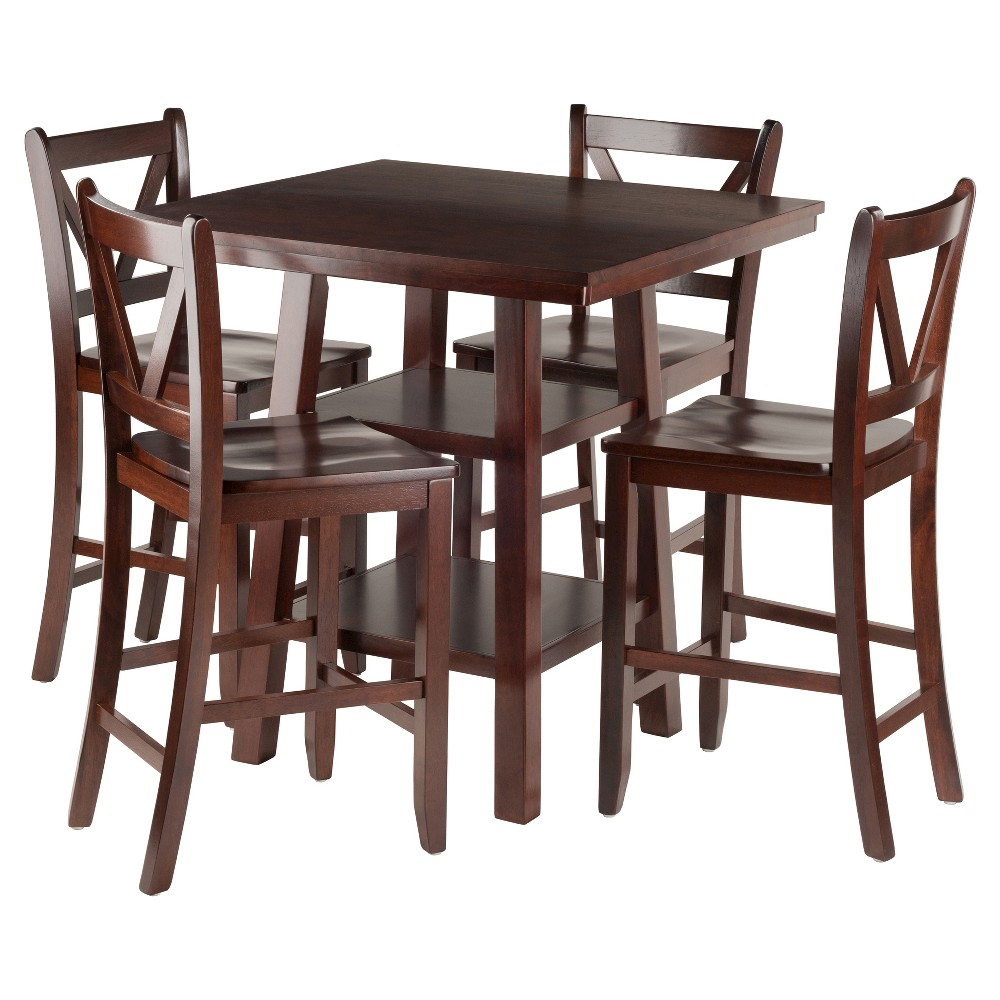 5 Piece Orlando Set High Table 2 Shelves with V-Back Counter Stools Wood/Walnut- Winsome, Brown