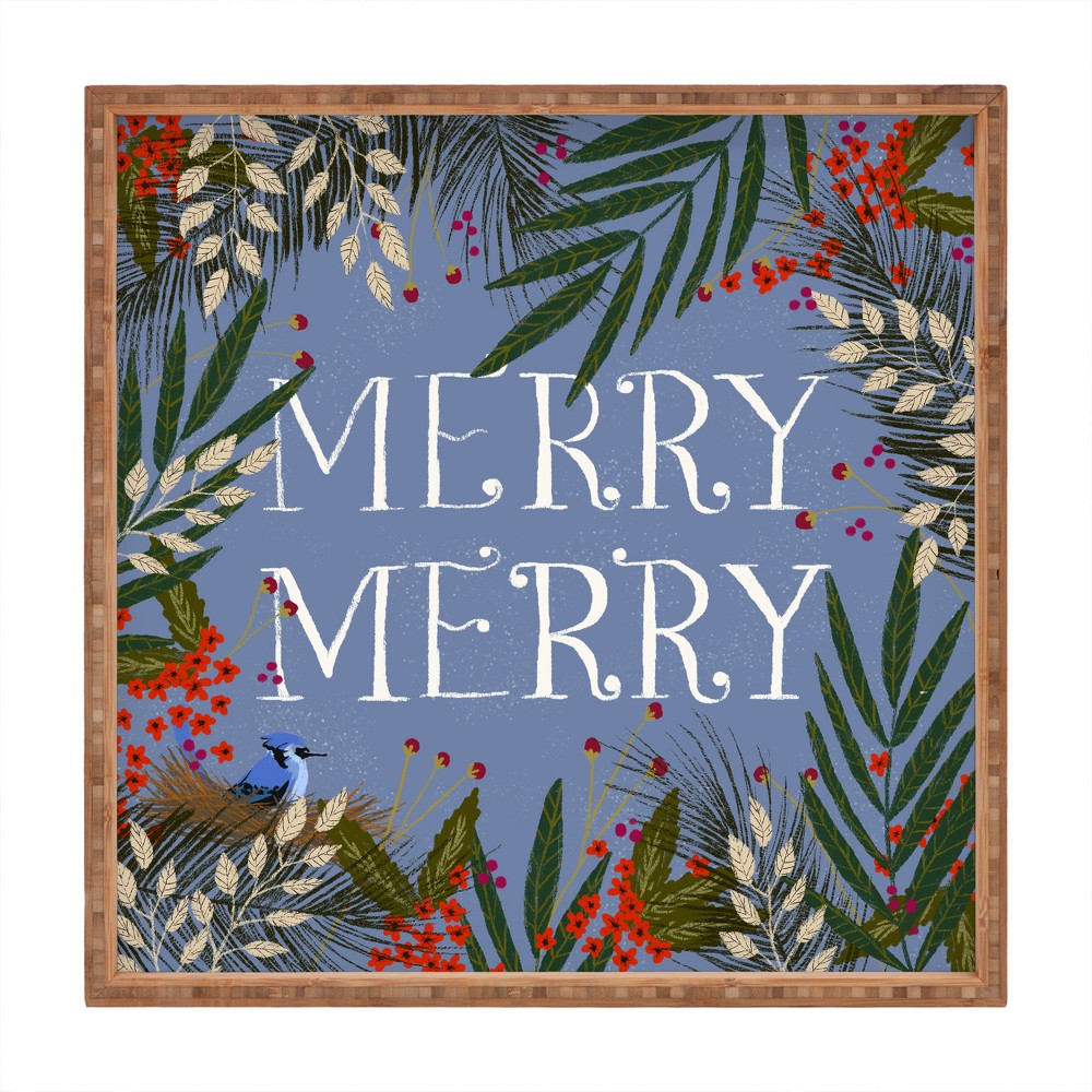 Joy Laforme Christmas Merry Merry Wreath Tray (16) - Deny Designs, Blue
