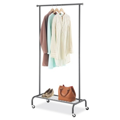 Whitmor Single Rod Garment Rack Gunmetal