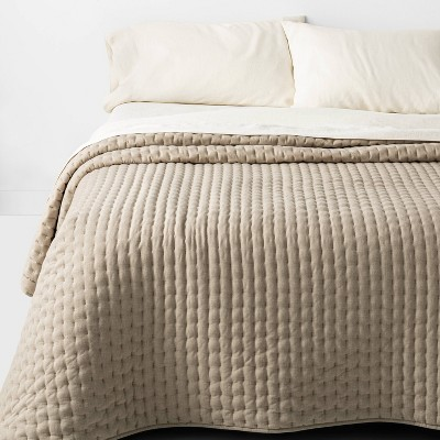 Full/Queen Cashmere Blend Quilt Dark Sand - Casaluna™