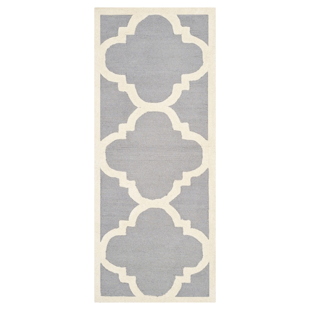 Landon Texture Wool Rug - Silver / Ivory (2'6 X 8' Runner) - Safavieh, Silver/Ivory