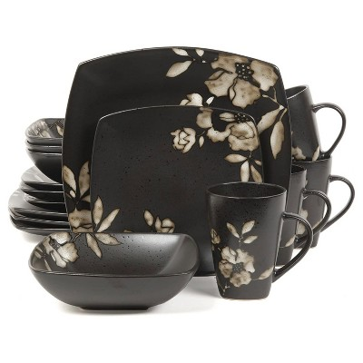 Gibson 100193.16RM Elite Lanark 16 Piece Durable Square Dinnerware Set with Plates, Bowls, & Mugs, Microwave and Dishwasher Ready, Black