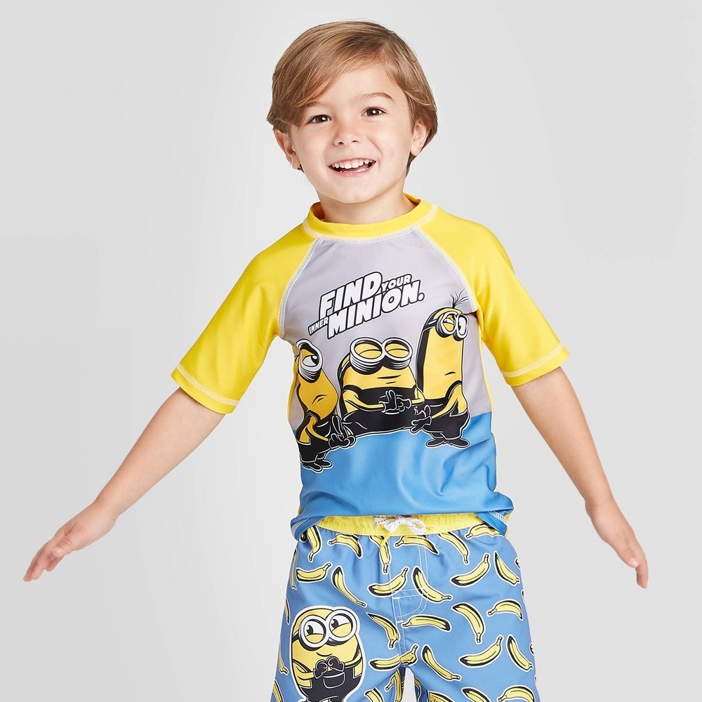 Image of Toddler Boys' Minions Rash guard - Yellow 2T, Boy's, MultiColored