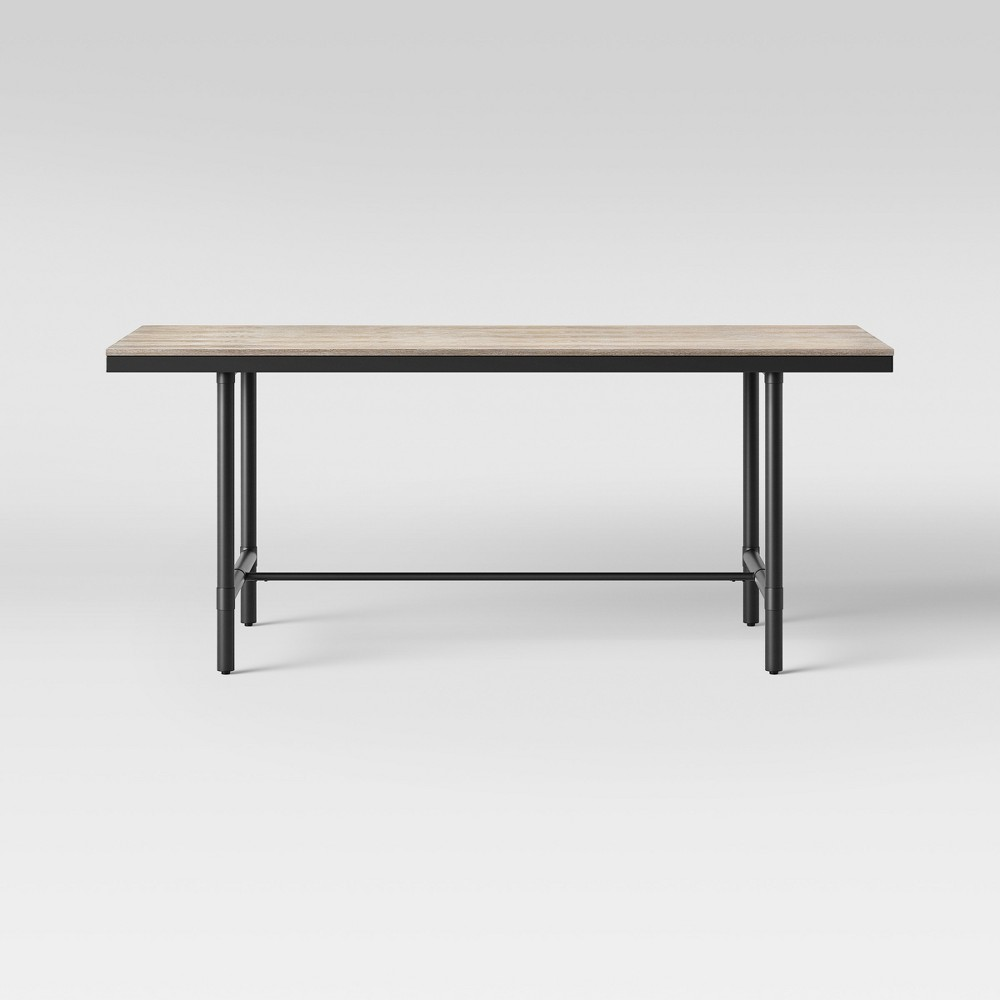 72 Danvers Farmhouse Dining Table Rectangle Black Metal and Gray Wash - Threshold