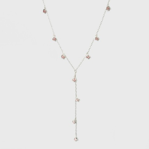 Flowers Long Y Necklace - A New Day™ Pink/Silver - image 1 of 3
