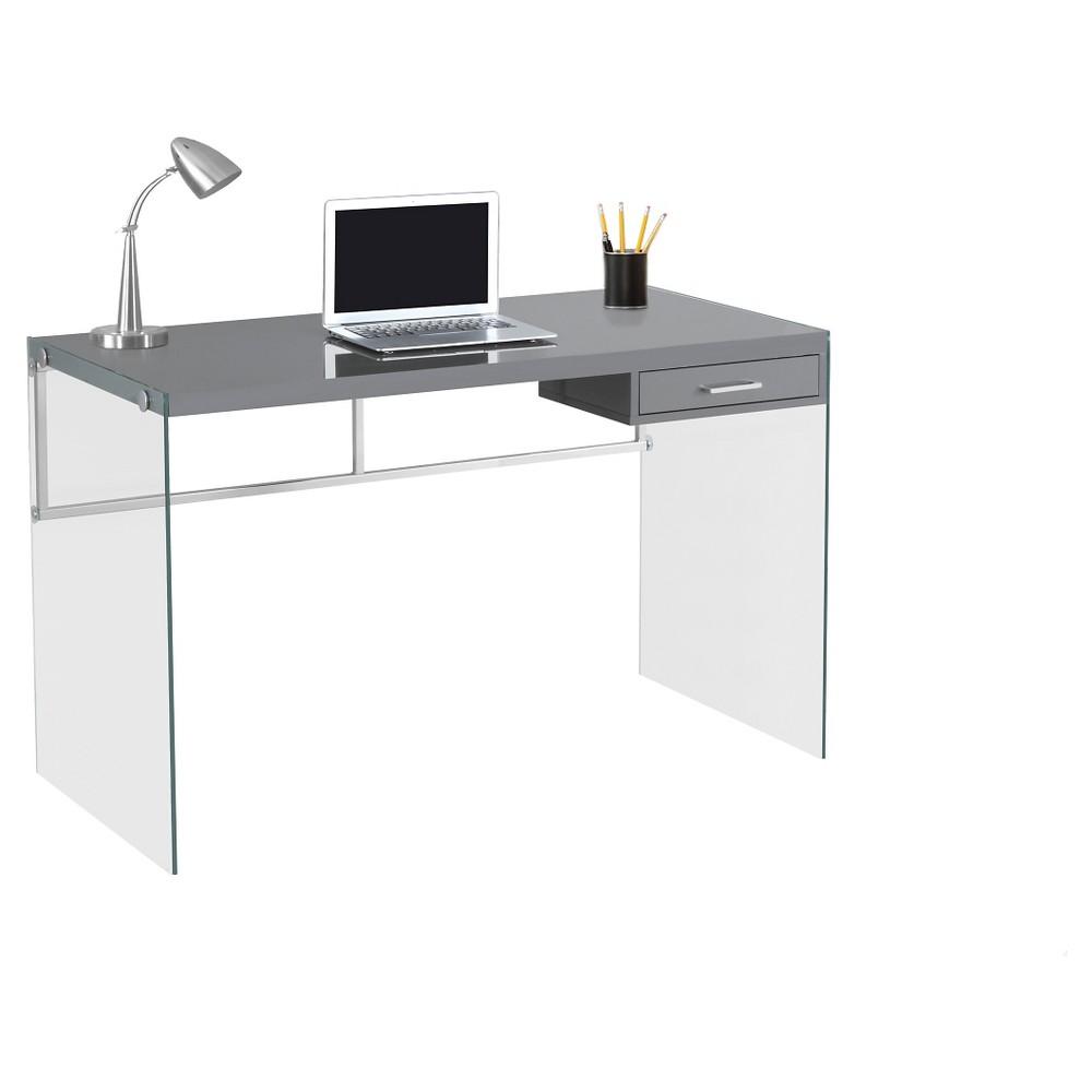 Tempered Glass Computer Desk- Gray - EveryRoom