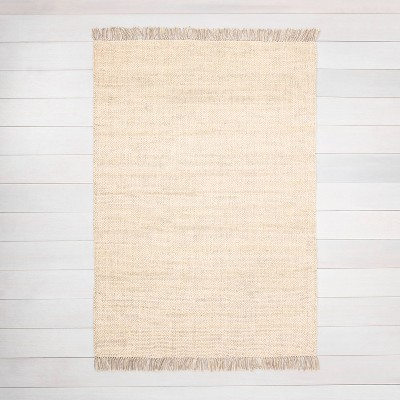 5' x 7' Bleached Jute Fringe Area Rug Beige - Hearth & Hand™ with Magnolia