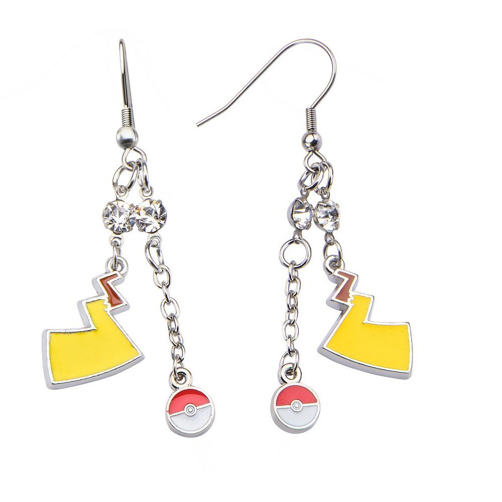 Women's Pokémon Poké Ball and Lightning Bolt Stainless Steel Dangle Earrings, Yellow