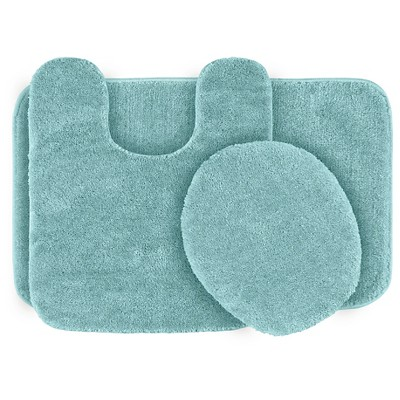 3pc Traditional Washable Nylon Bath Rug Set Sea foam - Garland