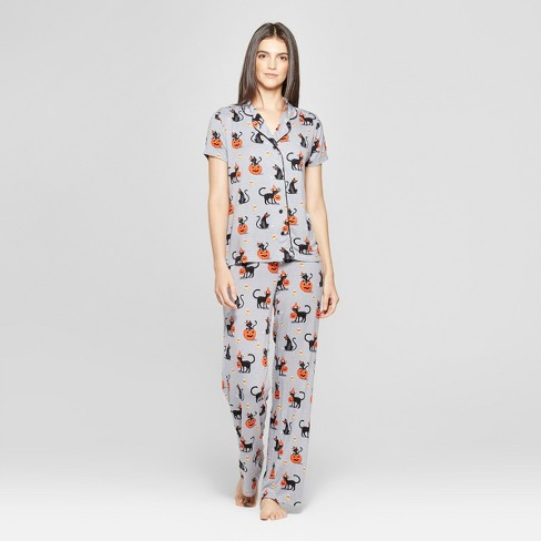 nite nite by munki munki womens halloween pajama set gray