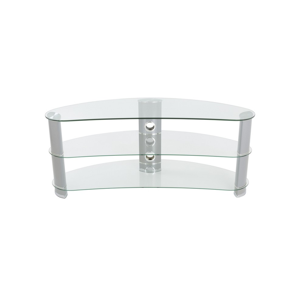 60 Jelly Bean Curved TV Stand Silver - Avf Jelly Bean's unique shape makes it perfect for sitting in corners or along flat walls, designed using tempered glass and aluminium. Perfect for holding not only your TV but your various AV components such as digital receivers, DVRs, Blu-ray, or gaming consoles. Route all cables via the built-in cable management with entry and exit points along the length of the column so that all your power and connectivity leads can easily reach your equipment in a neat and organized fashion. Color: Silver.