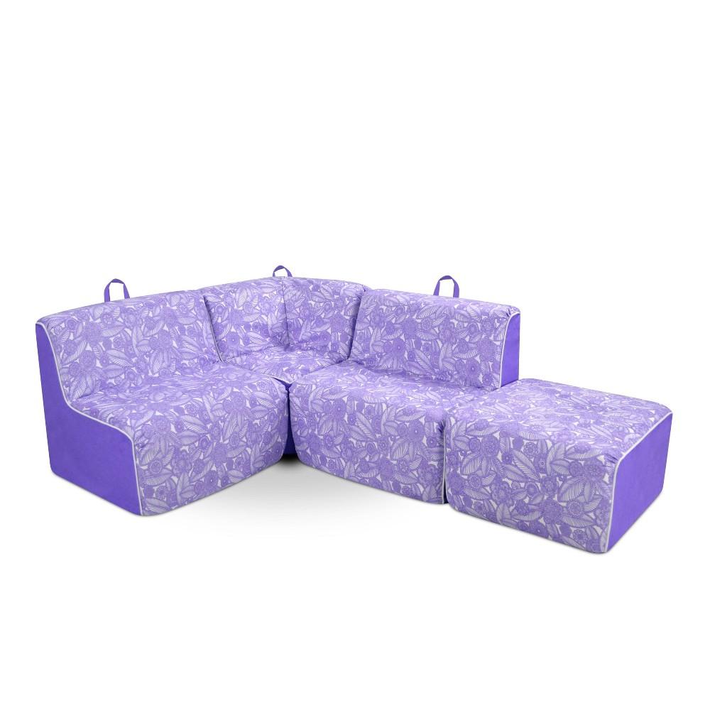 Image of 4pc Kid's Foam Sectional Set Purple/White - Kangaroo Trading Company