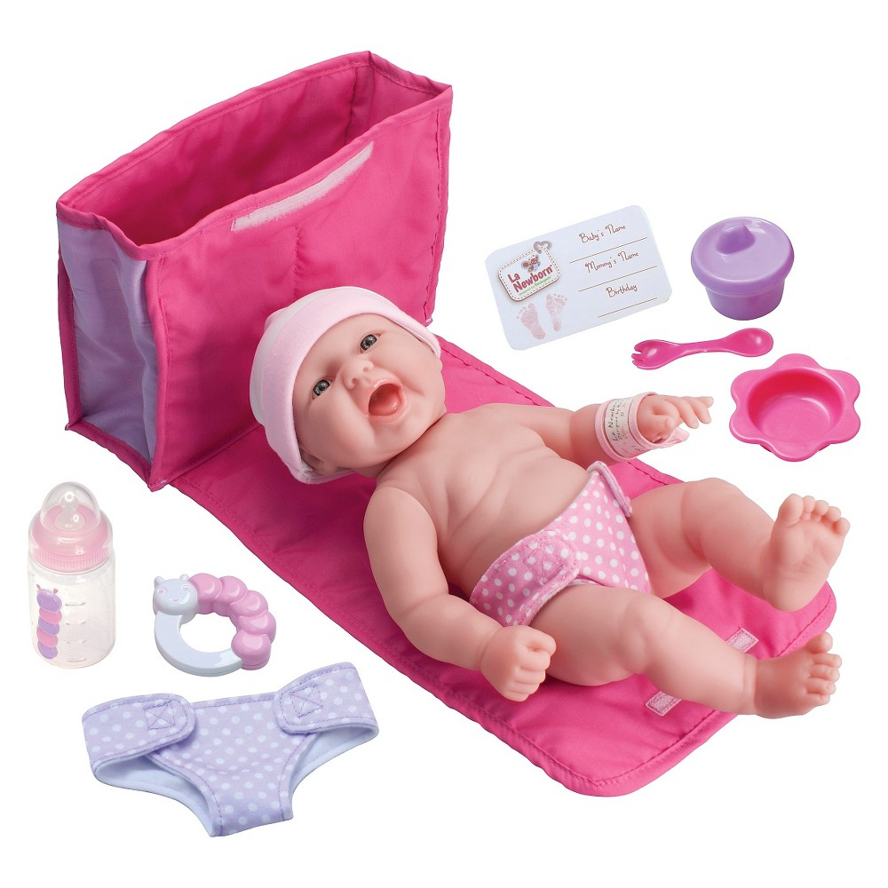 JC Toys La Newborn 13 All Vinyl Baby Doll with 7 Piece Diaper Bag Gift Set This JC Toys doll is a must-have for children aged 2 years and up. Gender: Female.