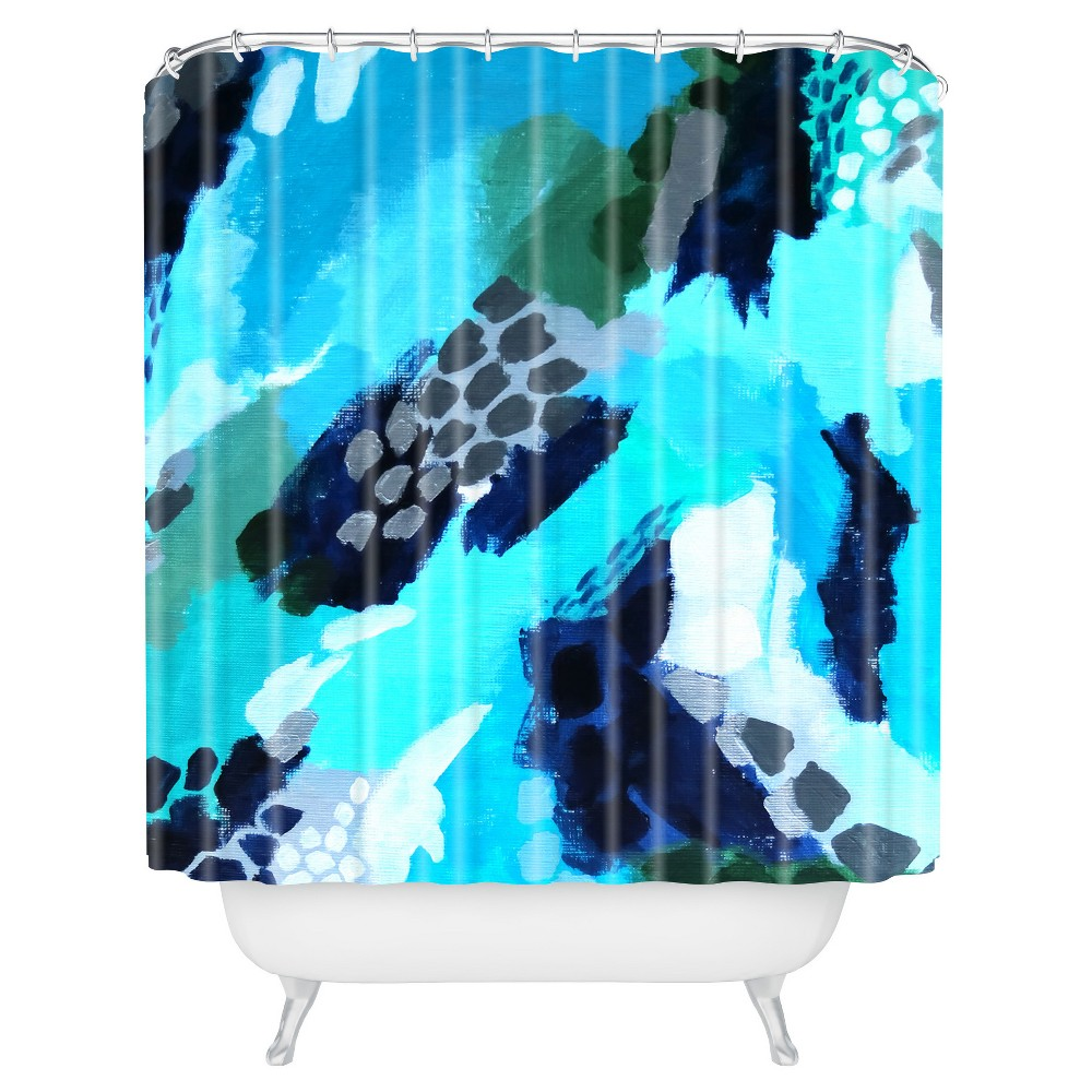 Shape Abstract Shower Curtain Blue - Deny Designs