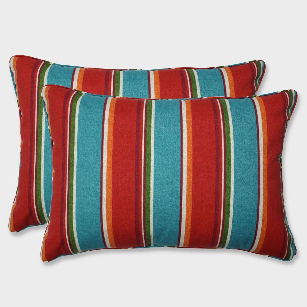 2pk Oversize Sovaro Mesa Rectangular Throw Pillows Blue - Pillow Perfect