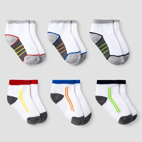 Boys' Boys' 6pk Low Cut Cushioned Crew Socks Cat & Jack™ - Multicolor - image 1 of 1