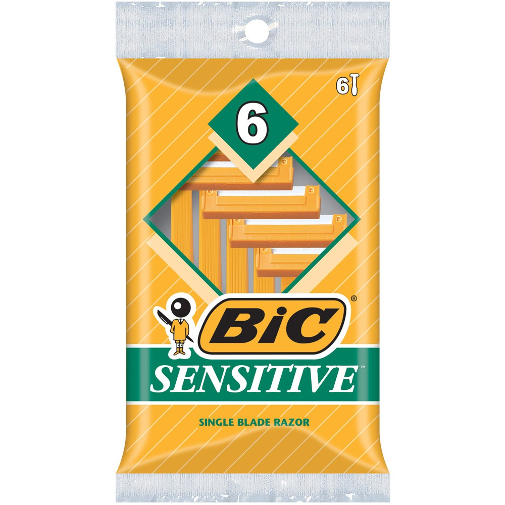Image of BIC Sensitive Shaver Single Blade Disposable Razor for Men - 6ct