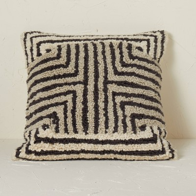 Maze Pattern Loop Tufted Square Throw Pillow Black/Cream - Opalhouse™ designed with Jungalow™