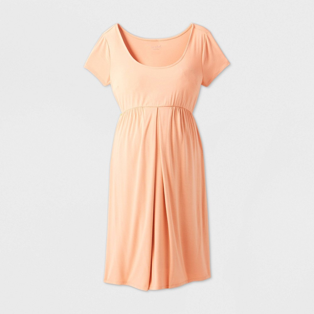 Maternity Short Sleeve A-Line T-Shirt Dress - Isabel Maternity by Ingrid & Isabel Coral XXL, Pink was $24.99 now $10.0 (60.0% off)
