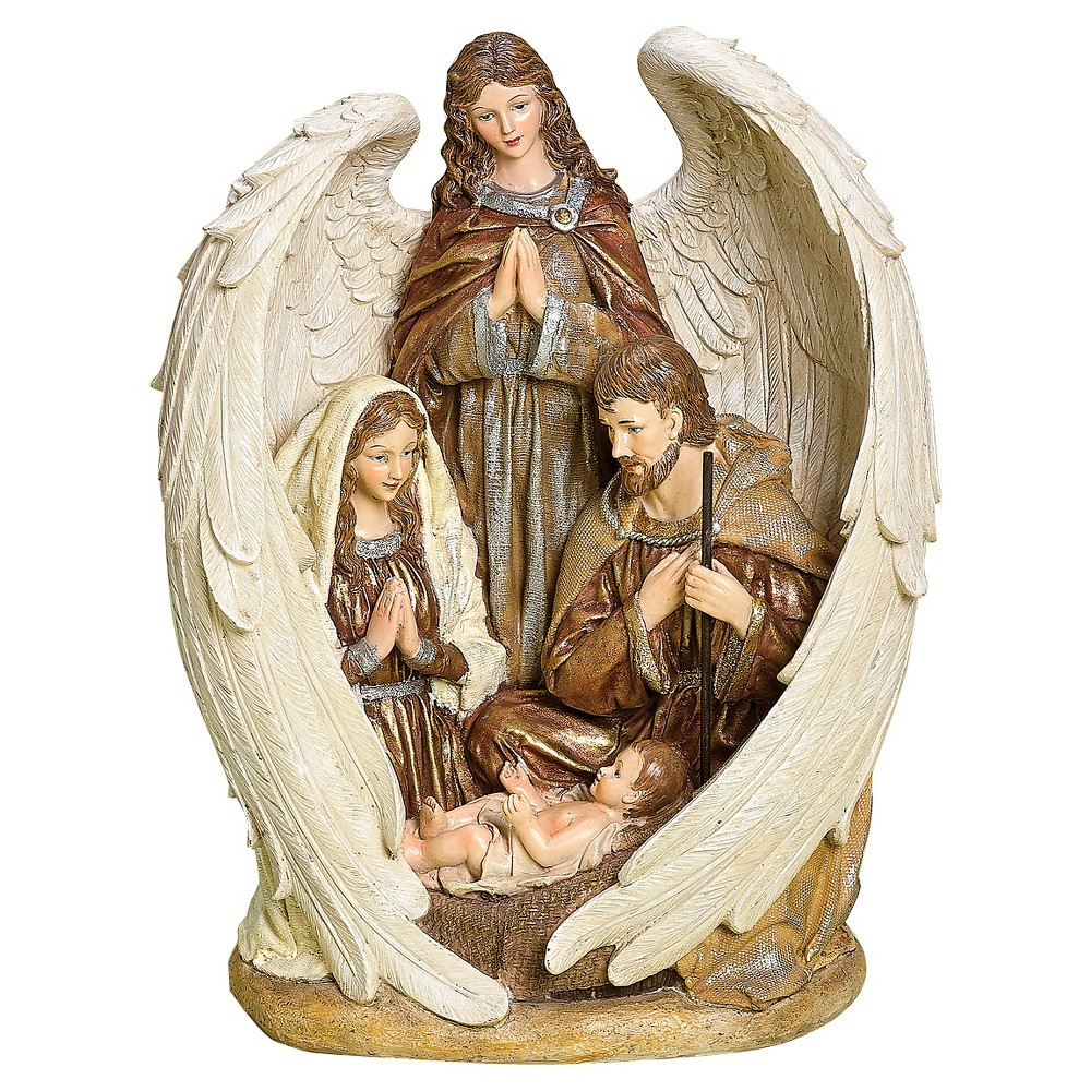 Family Nativity with Angel Decorative Figurine, Multi-Colored