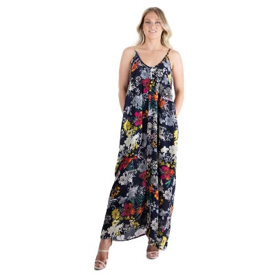 24seven Comfort Apparel Women's Floral Spaghetti Maxi Dress