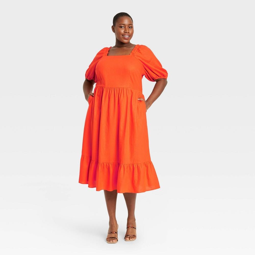Women 39 S Plus Size Puff Elbow Sleeve Open Back Dress Who What Wear 8482 Orange 4x